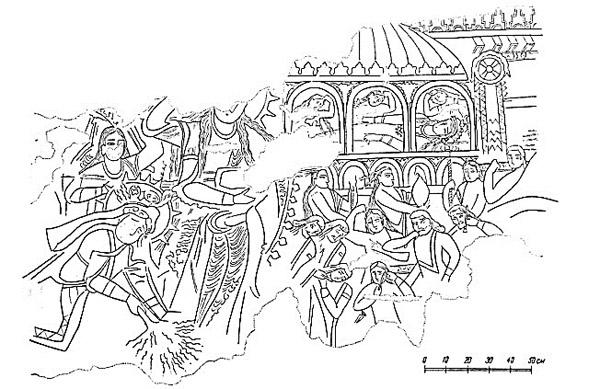 دیوارنگاری سیاوش در سغد باستان. صحنه سوگواری، یافت شده از پنجکنت