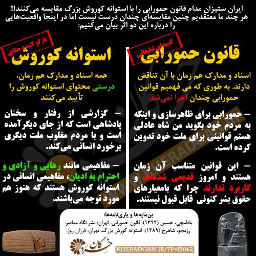 ایران ستیزان مدام قانون حمورابی را با استوانه کوروش بزرگ مقایسه میکنند!!!