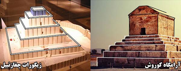 طراحی پلکانی آرامگاه کوروش برگرفته از زیگورات ها(مخصوصا زیگورات چغازنبیل شوش)