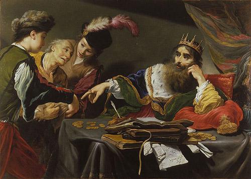 کرزوس پادشاه لودیه که پس از اتحاد با بابل و مصر قصد یورش به کوروش بزرگ را داشت (نقاشی اثر کلود وینون)